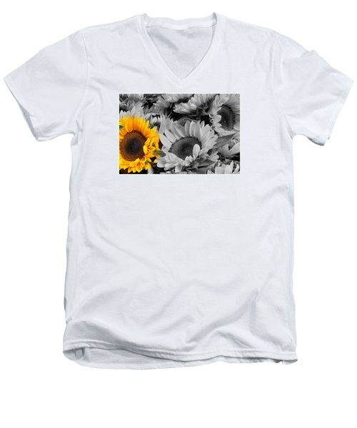 Yellow Sunflower On Black And White Men's V-Neck T-Shirt by Dora Sofia Caputo Photographic Art and Design