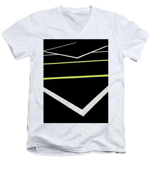 Yellow Traffic Lines In The Middle Men's V-Neck T-Shirt