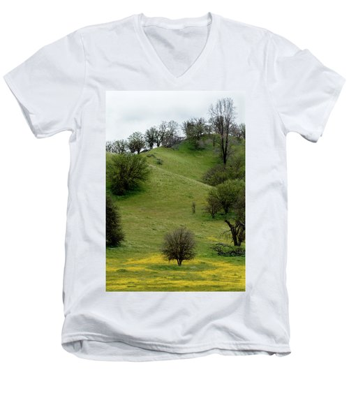 Yellow Wildflowers And Oak Trees Men's V-Neck T-Shirt by Roger Mullenhour