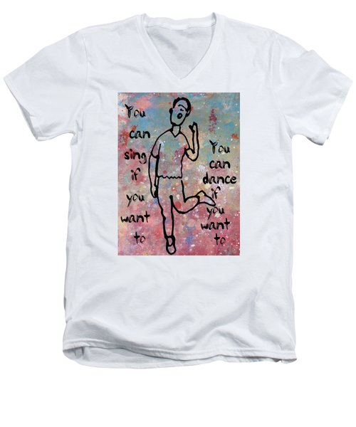 Men's V-Neck T-Shirt featuring the mixed media Yes You Can by John Fish
