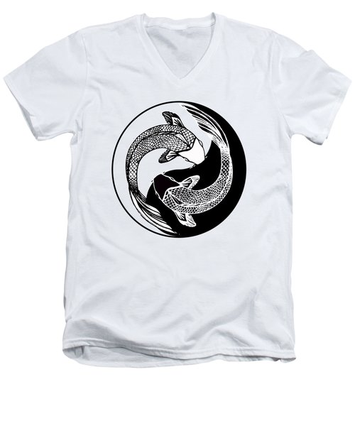 Yin Yang Fish Men's V-Neck T-Shirt by Stephen Humphries