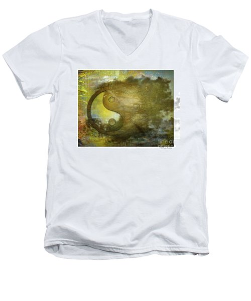 Ying And Yang Unbalanced Men's V-Neck T-Shirt by Deborah Nakano