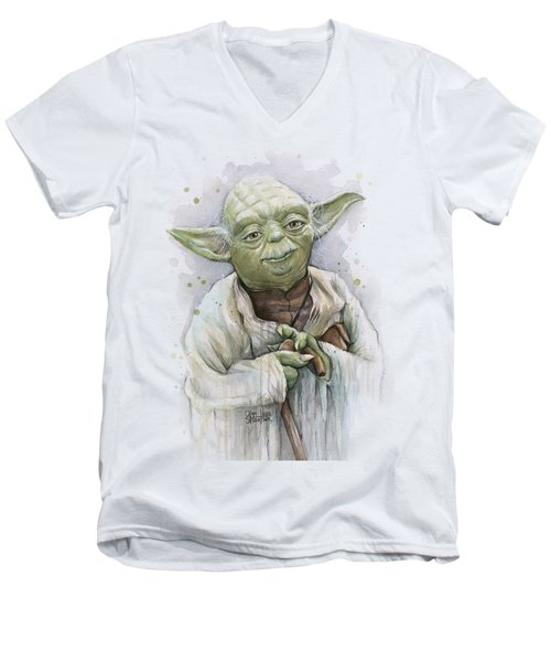Yoda Men's V-Neck T-Shirt by Olga Shvartsur