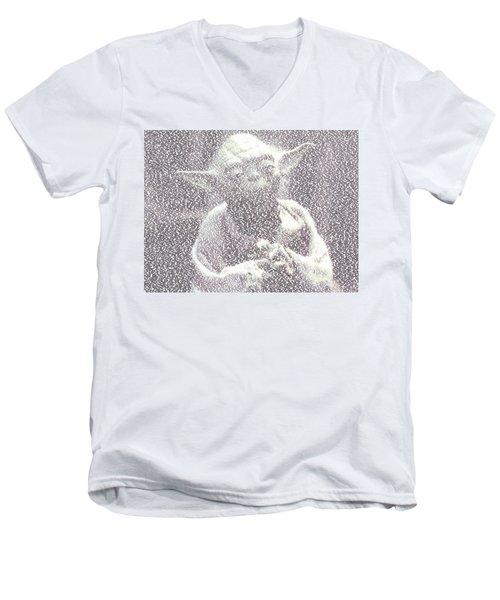 Yoda Quotes Mosaic Men's V-Neck T-Shirt by Paul Van Scott
