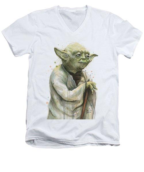 Yoda Watercolor Men's V-Neck T-Shirt by Olga Shvartsur