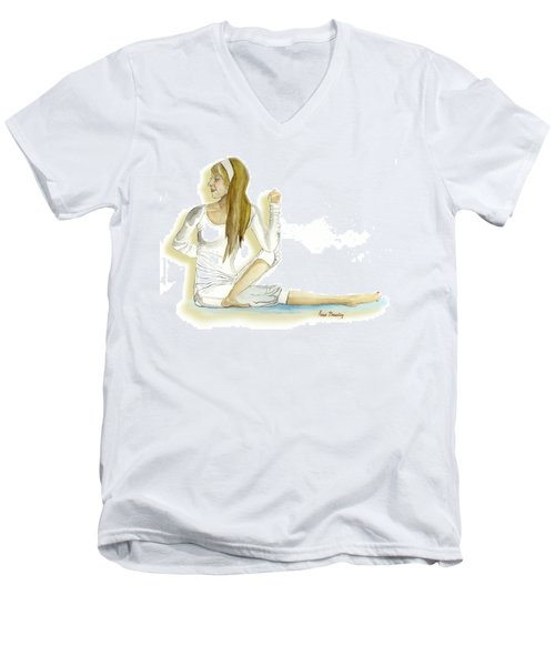 Men's V-Neck T-Shirt featuring the painting Yoga Girl by Anne Beverley-Stamps