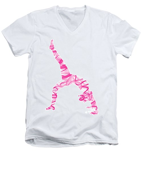 Yoga Pose Fine Art One-legged Men's V-Neck T-Shirt