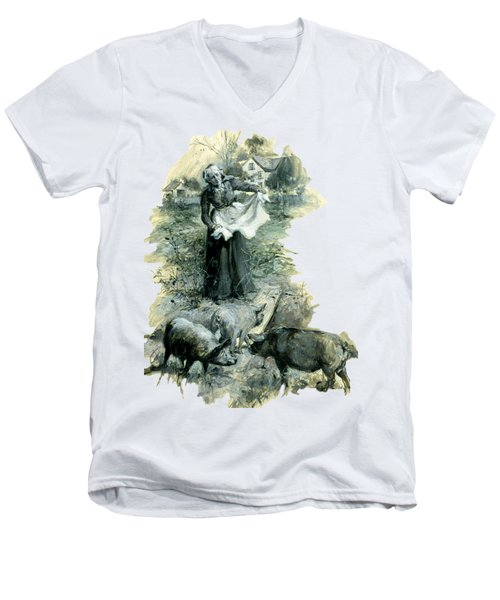 Men's V-Neck T-Shirt featuring the photograph Yohn Pigs  by Robert G Kernodle