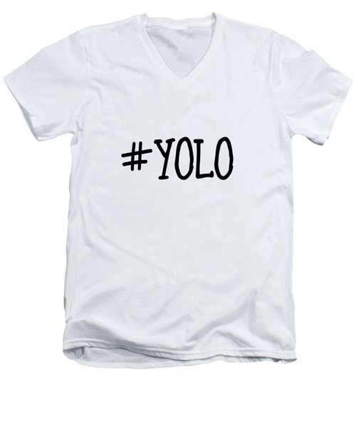 #yolo Men's V-Neck T-Shirt by Clare Bambers