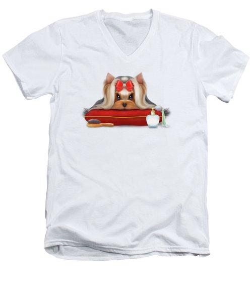 Yorkie Beauty Men's V-Neck T-Shirt by Catia Cho