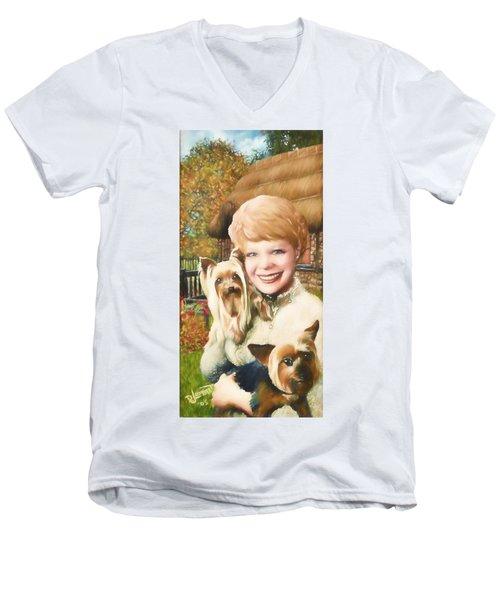 Yorkshire Lady Men's V-Neck T-Shirt by Dave Luebbert