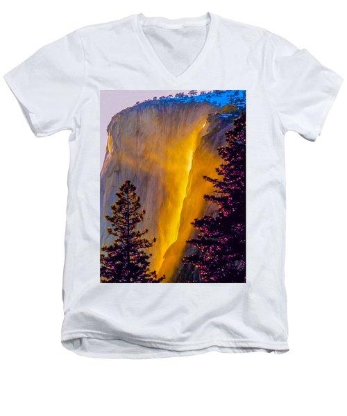 Yosemite Firefall Painting Men's V-Neck T-Shirt by Dr Bob Johnston