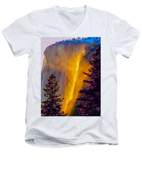 Yosemite Firefall Painting Men's V-Neck T-Shirt