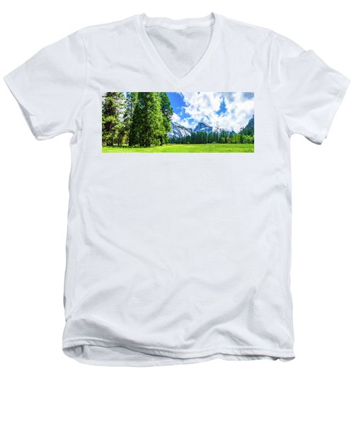 Yosemite Valley And Half Dome Digital Painting Men's V-Neck T-Shirt