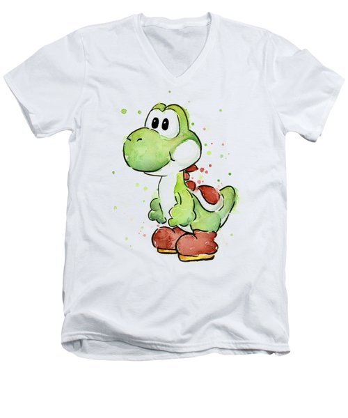 Yoshi Watercolor Men's V-Neck T-Shirt by Olga Shvartsur