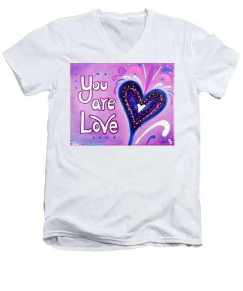 Men's V-Neck T-Shirt featuring the painting You Are Love Purple Heart by Bob Baker and Pooki Lee