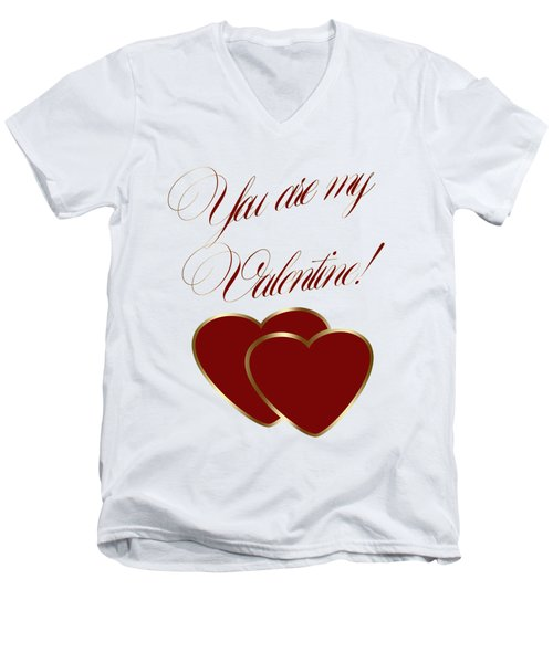 Men's V-Neck T-Shirt featuring the painting You Are My Valentine Digital Typography by Georgeta Blanaru