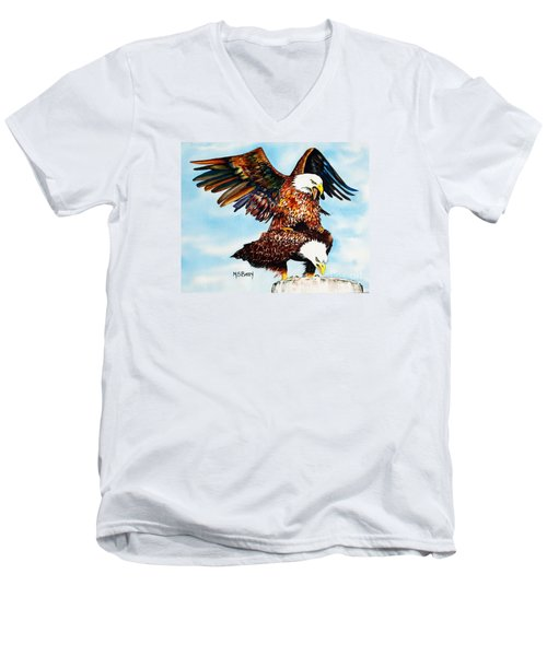 Men's V-Neck T-Shirt featuring the painting You Ruffle My Feathers by Maria Barry