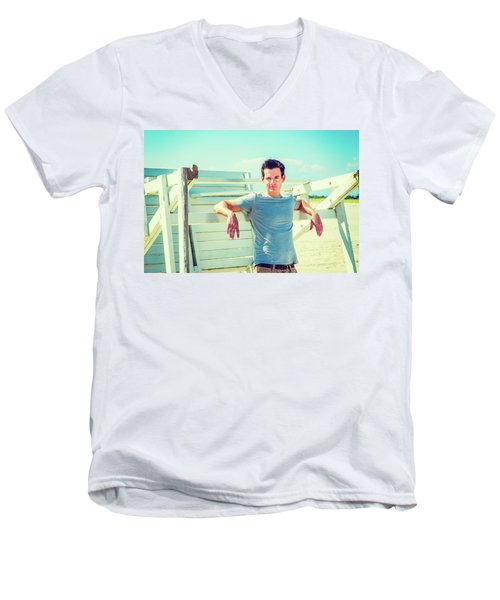 Young Man Relaxing On The Beach Men's V-Neck T-Shirt