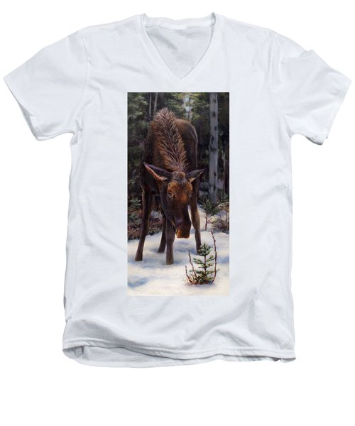 Men's V-Neck T-Shirt featuring the painting Young Moose And Pussy Willows Springtime In Alaska Wildlife Painting by Karen Whitworth