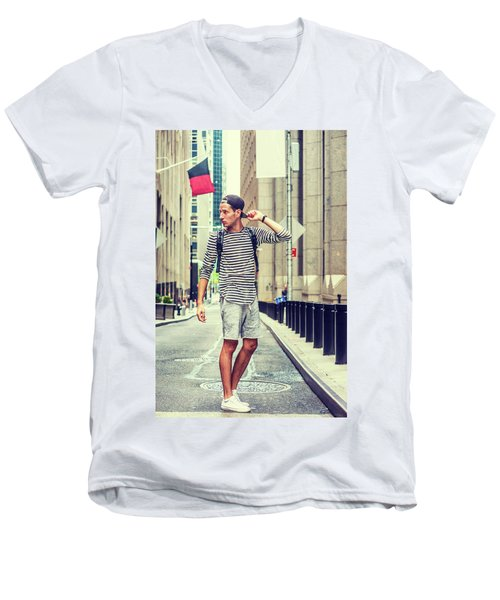 Young Russian Man Traveling In New York Men's V-Neck T-Shirt