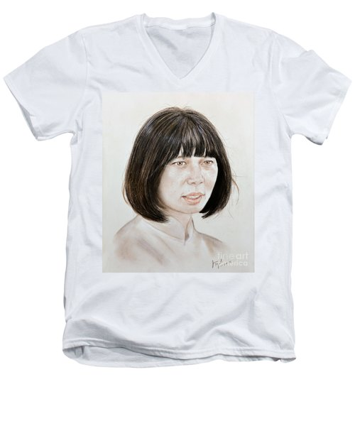 Men's V-Neck T-Shirt featuring the mixed media Young Vietnamese Woman by Jim Fitzpatrick