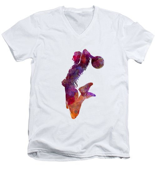 Young Woman Basketball Player 01 In Watercolor Men's V-Neck T-Shirt