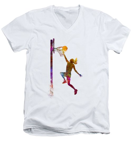 Young Woman Basketball Player 04 In Watercolor Men's V-Neck T-Shirt by Pablo Romero