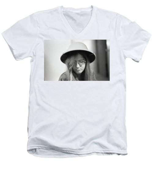 Young Woman With Long Hair, Wearing A Pith Helmet, 1972 Men's V-Neck T-Shirt