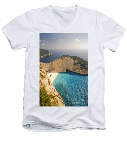 Men's V-Neck T-Shirt featuring the photograph Zakynthos Beach by Juergen Held