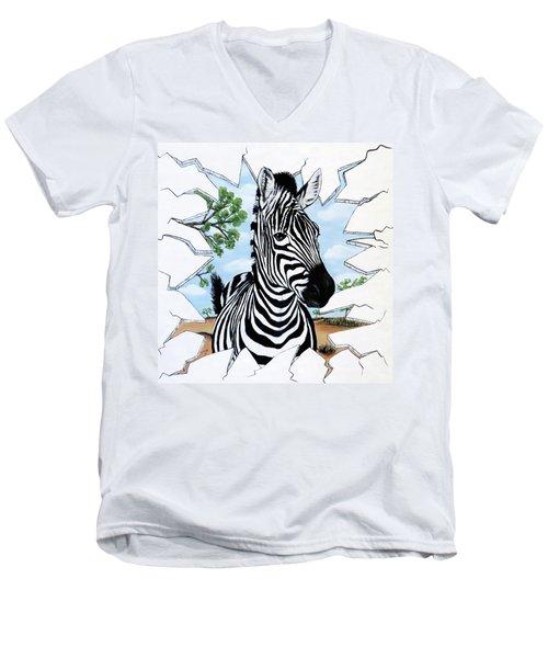 Zany Zebra Men's V-Neck T-Shirt
