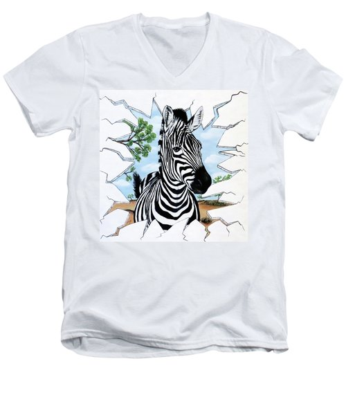 Men's V-Neck T-Shirt featuring the painting Zany Zebra by Teresa Wing