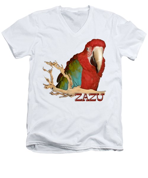 Zazu With Branch Men's V-Neck T-Shirt by Zazu's House Parrot Sanctuary