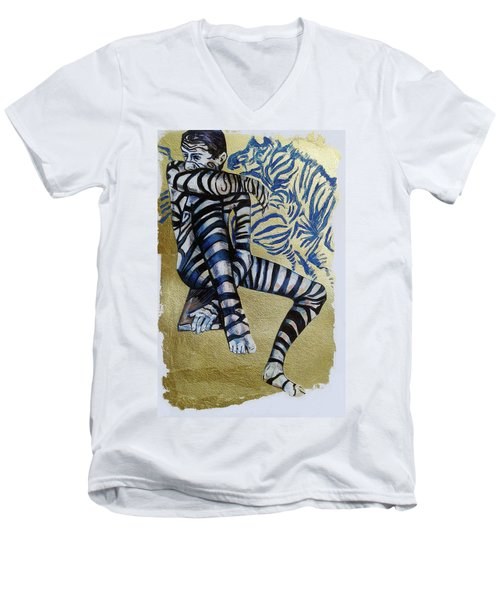 Zebra Boy The Lost Gold Drawing  Men's V-Neck T-Shirt