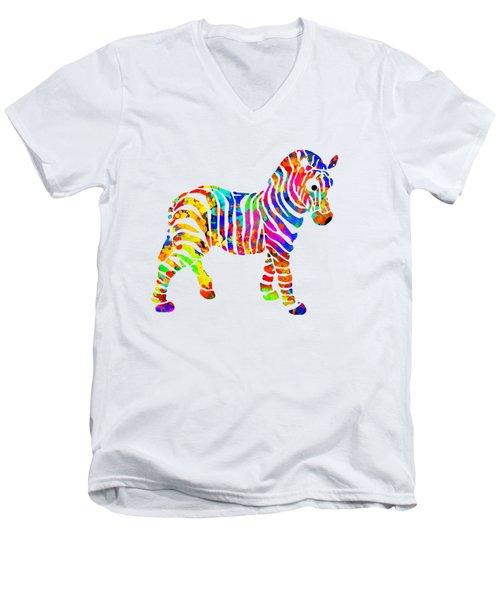 Zebra Men's V-Neck T-Shirt by Christina Rollo