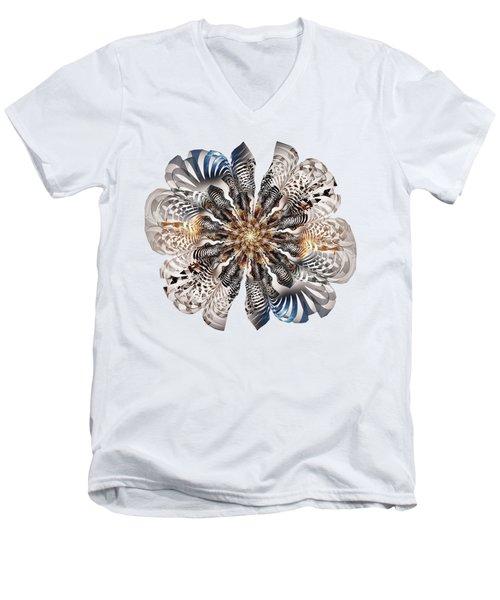 Zebra Flower Men's V-Neck T-Shirt by Anastasiya Malakhova