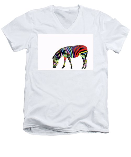 Men's V-Neck T-Shirt featuring the photograph Zebra In My Dreams by Bonnie Barry