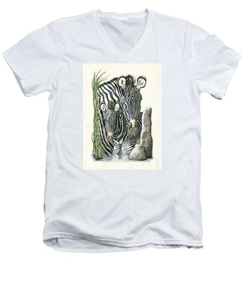 Zebra Mother And Colt Protect Our Children Painting Men's V-Neck T-Shirt
