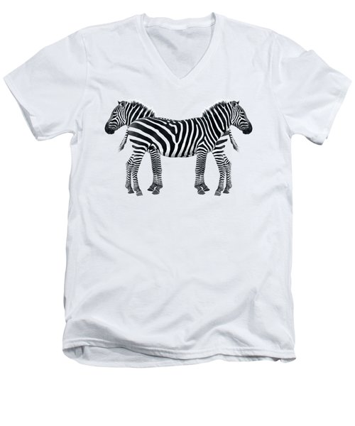 Men's V-Neck T-Shirt featuring the photograph Zebra Pair On Black by Gill Billington