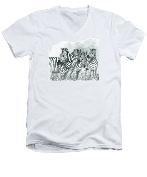 Zebra Quartet Men's V-Neck T-Shirt