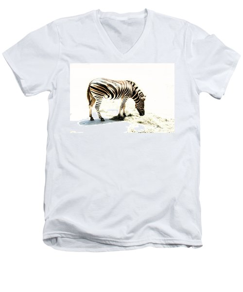 Men's V-Neck T-Shirt featuring the photograph Zebra Stripes by Stephen Mitchell