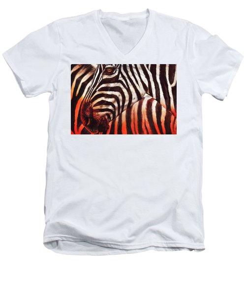 Zebra Sunset Men's V-Neck T-Shirt