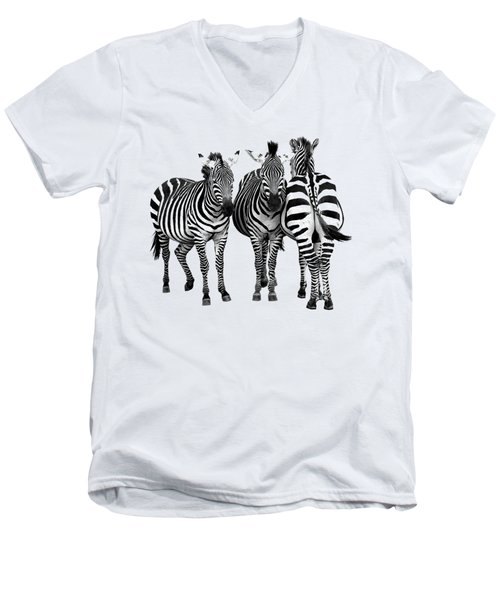 Men's V-Neck T-Shirt featuring the photograph Zebra - Three's A Crowd by Gill Billington