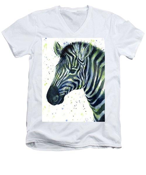 Zebra Watercolor Blue Green  Men's V-Neck T-Shirt