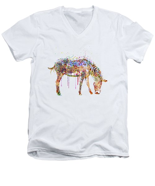 Zebra Watercolor Painting Men's V-Neck T-Shirt by Marian Voicu