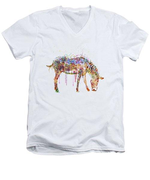 Zebra Watercolor Painting Men's V-Neck T-Shirt