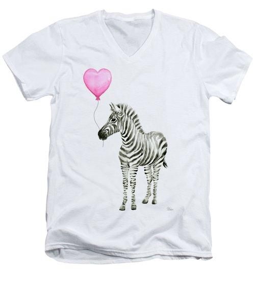 Zebra Watercolor Whimsical Animal With Balloon Men's V-Neck T-Shirt