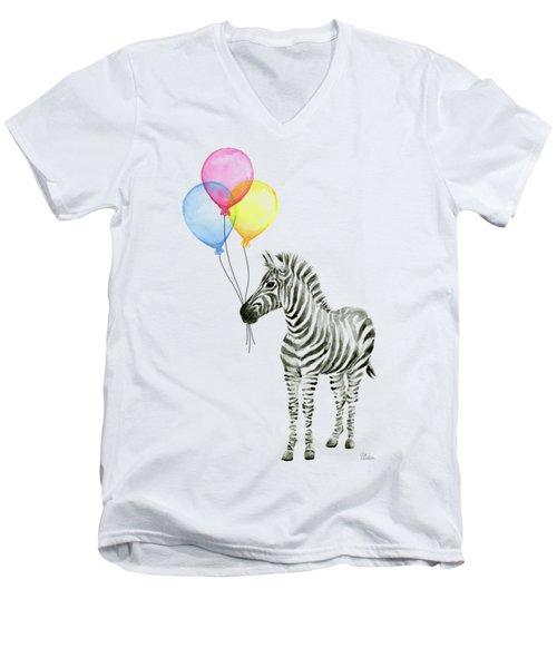 Zebra With Balloons Watercolor Whimsical Animal Men's V-Neck T-Shirt by Olga Shvartsur