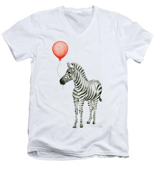 Zebra With Red Balloon Whimsical Baby Animals Men's V-Neck T-Shirt