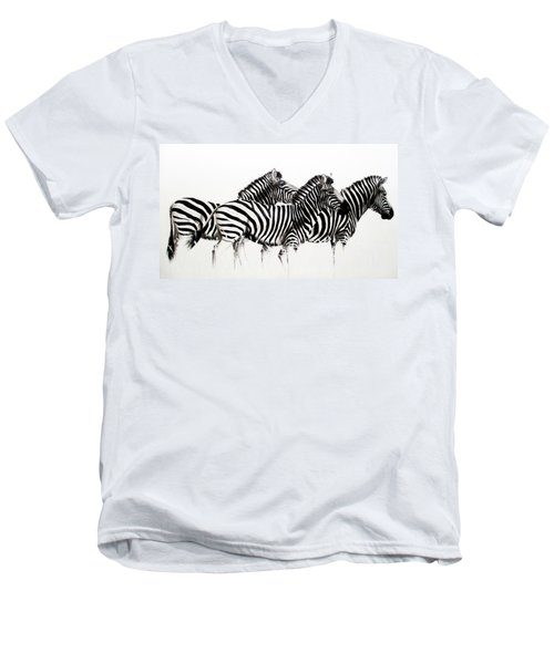 Zebras - Black And White Men's V-Neck T-Shirt